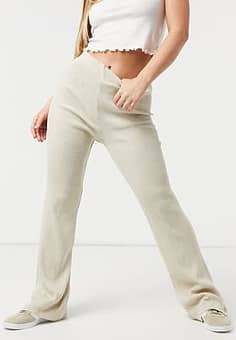 Girl In Mind knitted wide leg trouser in cream