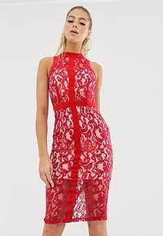 Girl In Mind lace high neck bodycon dress-Red