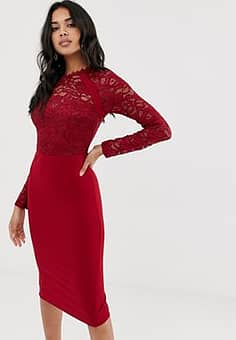 Girl In Mind lace long sleeve dress-Red