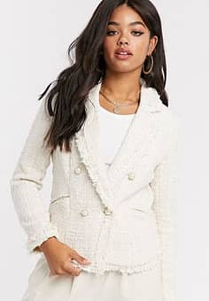 Girl In Mind tweed double breasted jacket in cream check