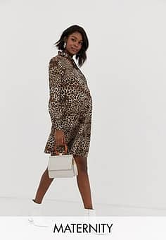 Glamorous button front shift dress with tie neck in leopard-Multi