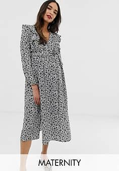 Glamorous long sleeve midi dress with ruffle detail in ditsy floral-Black