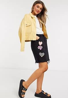 Glamorous denim mini skirt with patch embroidery in black