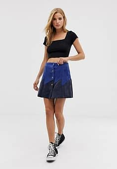 Glamorous faux suede button down mini skirt in blue and navy contrast