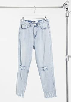 Glamorous relaxed jeans in bleached stonewash denim with distressing-Blue