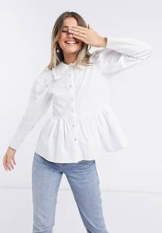 Influence cotton poplin collared shirt in white