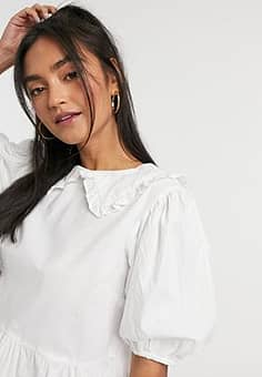 Influence cotton poplin peter pan collar blouse in white