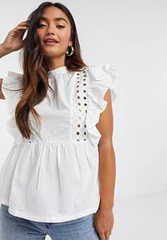 Influence ruffle sleeve cotton poplin blouse in white