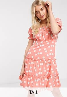 Influence puff sleeve tiered square neck mini dress with tiered hem in rust polka dot-Brown
