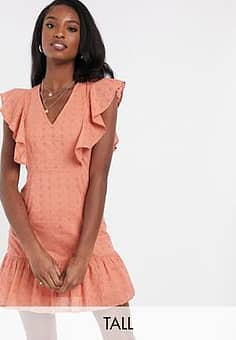 Influence sleeveless broderie dress in tan-Brown