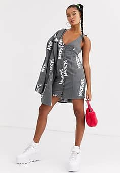 Jaded London structured cami dress with button down detail in reflective script co-ord-Grey
