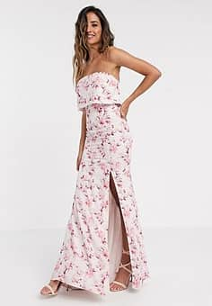 Jarlo overlay bandeau maxi dress in blossom print-Multi
