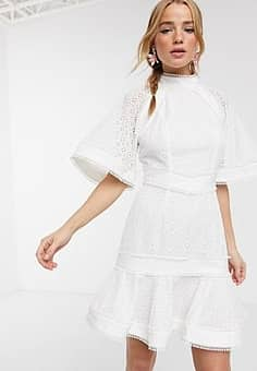 Keepsake high neck ardour embroidered mini dress in procelain-White