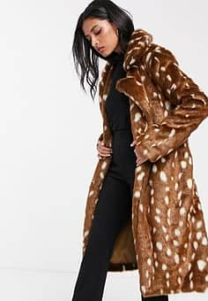Lost Ink belted faux fur coat in spot-Brown
