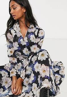 Lost Ink maxi wrap dress with cut out detail in over
