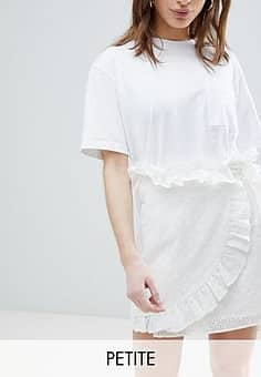 Lost Ink Mini Wrap Skirt In Broderie Anglaise-White