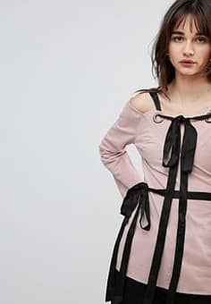 Lost Ink Top With Eyelet Tie Details-Pink