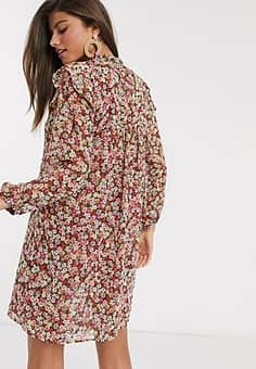 Mango layered smock dress in floral print-Multi