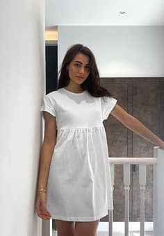 Mango organic cotton smock t shirt dress in white