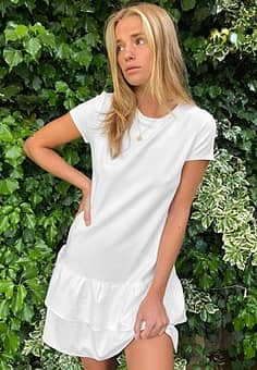 Mango ruffle skirt t shirt dress in white