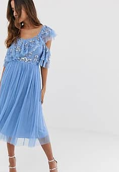 Maya cami strap sequin top tulle detail midi dress with ruffle skirt in bluebell