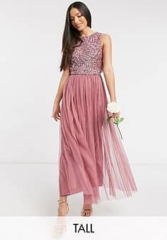 Maya Bridesmaid delicate sequin 2 in 1 midaxi dress in rose-Pink