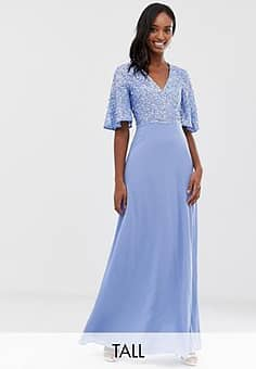 Maya sequin top maxi dress with flutter sleeve detail in bluebell