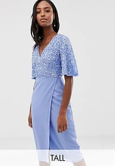 Maya sequin top midi pencil dress with flutter sleeve detail in bluebell