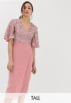 Maya sequin top midi pencil dress with flutter sleeve detail in vintage rose-Pink