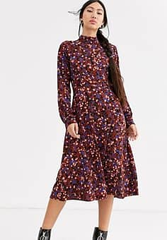 Monki confetti print high neck midi dress in burgundy-Multi