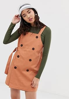 Monki dungaree dress with sided belt in peach-Beige