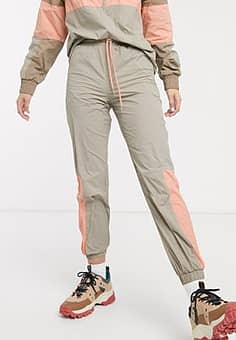 Monki joggers with contrast piping in beige-Grey