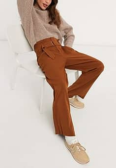 Moon River belted trousers in brown