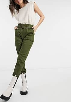 Moon River belted trousers in olive green