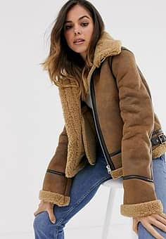 Moon River faux shearling utility bomber jacket-Brown