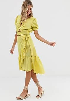Moon River ruffle wrap skirt in yellow polka dot