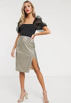Morgan sequin wrap front midi skirt in gold