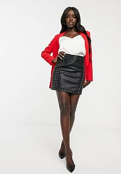 Morgan wrap front pu mini skirt with stud detail in black