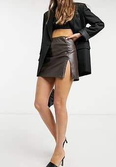 Motel mini a-line skirt in chocolate pu co-ord-Brown