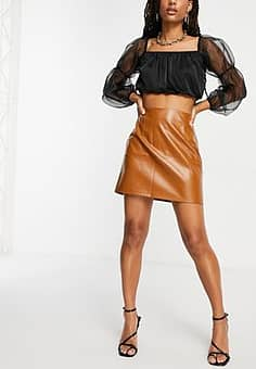 NaaNaa high waisted faux leather skirt in camel-Beige