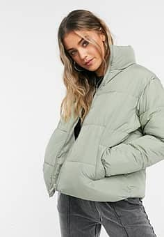 New Look boxy puffer jacket in sage green