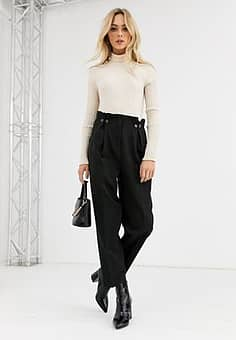 New Look button detail pleated trouser in black