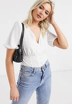 New Look button front tea blouse in white