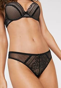 New Look mesh thong in spot print-Black