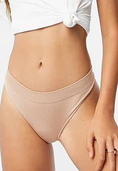 New Look rib seamless thong in pink
