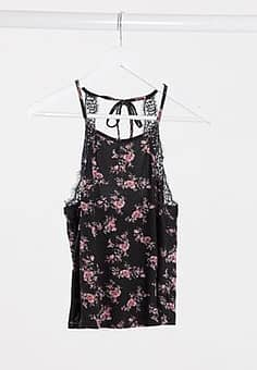 New Look soft touch pyjama cami in floral-Multi