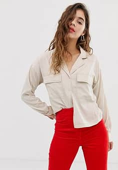 Noisy May pocket detail shirt with contrast stitch-Cream