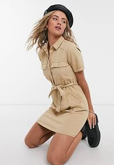 Noisy May shirt dress with belted waist in camel-Beige