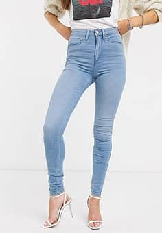 Only high waisted skinny jean-Blue