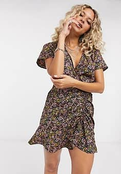 Only mini dress with ruched front in floral print-Multi